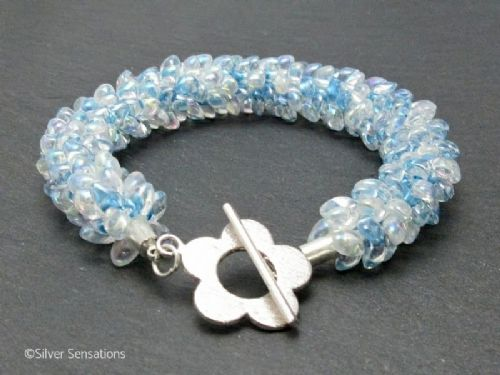 Pastel Baby Blue Beaded & Woven Petals Kumihimo Seed Bead Bracelet